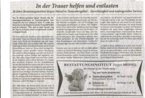 Zeitungsartikel: 20 Jahre Bestattungen Meinel in der Presse