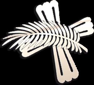 Ein Logo der Firma Meinel - Kreuz und Palmenzweig.